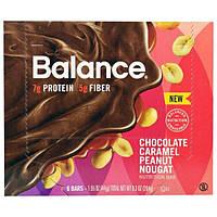 Balance Bar, Батончик Здорового Питания, Нуга из Шоколада, Карамели и Арахиса, 6 батончиков, 1,55 унции (44 г) каждый