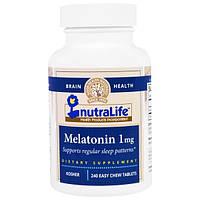 NutraLife, Мелатонин, 1 мг, 240 легко разжевываемых таблеток