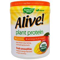 """Nature's Way, """"Бодрый!"""", органический растительный белок со вкусом тропического манго, 14,8 унции (420 г)"""