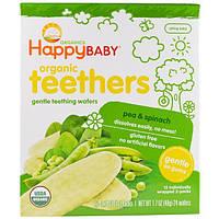 Nurture Inc. (Happy Baby), Нежные органические вафли для прорезывания зубов, горох и шпинат, 12 шт., 0,14 унции (4 г)