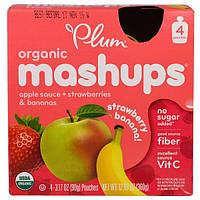 """Plum Organics, """"Морковная нарезка"""", фруктовое пюре с яблоком, бананом и клубникой, 4 пакета по 3,17 унций (90 г)"""