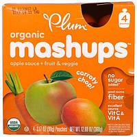 """Plum Organics, """"Морковная нарезка"""", фруктовое пюре с яблоком, морковью и манго, 4 пакета по 3,17 унций (90 г)"""