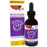 """BioRay Inc., NDF """"Счастье"""", выводит нежелательные микроорганизмы и токсины,  для детей, персиковый вкус, 2 жид. унций (60 мл)"""