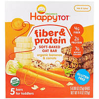 Nurture Inc. (Happy Baby), Happytot, Fiber and Protein Soft- Baked Bar, Organic Bananas and Carrots, 4.4 oz, 5 Bars