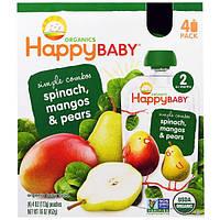 Nurture Inc. (Happy Baby), Органическое детское питание со шпинатом, манго и грушей, 4 пакета по 4 унции (113 г)