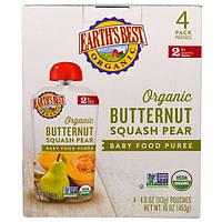 Earth's Best, Органическое детское пюре из мускатной тыквы и груши, для детей от 6 месяцев, 4 пакета по 4,0 унции (113 г)