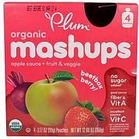 Plum Organics, Органические смеси, битбокс берри, яблочный соус + фрукты и овощи, 4 мешочка, 90 г (3,17 унции) каждый