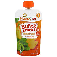Nurture Inc. (Happy Baby), Happy Tot, Super Smart, Fruit and Veggie Blend, Stage 4, Organic Bananas, Mangos and Spinach, Coconut Milk, 4 oz (113 g)