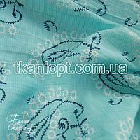 Ткань Лен рубашечный вышивка (мята)