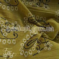 Ткань Лен рубашечный вышивка (оливковый)
