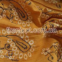 Ткань Лен рубашечный вышивка (оранжевый)