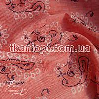 Ткань Лен рубашечный вышивка (светло-коралловый)