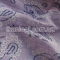 Ткань Лен рубашечный вышивка (сиреневый)