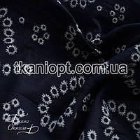 Ткань Лен рубашечный вышивка (темно-синий)