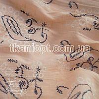 Ткань Лен рубашечный вышивка (персиковый)