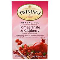 Twinings, Травяной чай, гранат и малина, без кофеина, 20 пакетиков, 1,41 унции (40 г) Каждый