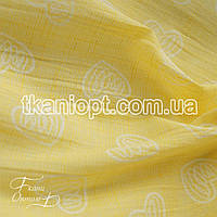Ткань Лен рубашечный сердечки (желтый)