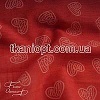 Ткань Лен рубашечный сердечки (красный)