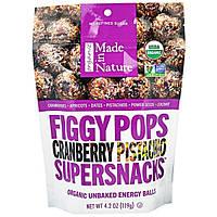 """Made in Nature, """"Инжирные суперснэки"""", органические инжирные снэки со вкусом клюквы и фисташки, 4,2 унции (119 г)"""