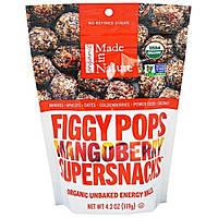 """Made in Nature, """"Инжирные суперснэки"""", органические инжирные снэки со вкусом манго с ягодами, 4,2 унции (119 г)"""