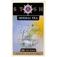 """Stash Tea,  """"Ромашковые ночи"""", травяной чай с аптечной ромашкой, без кофеина, 20 чайных пакетиков, 0,6 унции (18 г)"""