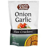 Foods Alive, Льняные крекеры, лук и чеснок, 4 унции (113 г)