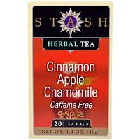 Stash Tea, Травяной чай с ароматом корицы, яблока и аптечной ромашки, без кофеина, 20 чайных пакетиков, 1,4 унции (40 г)