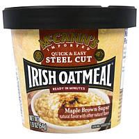 McCann's Irish Oatmeal, Quick and Easy Steel Cut, Коричневый Кленовый Сахар, 1,9 унции (54 г)