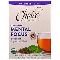 """Choice Organic Teas, """"Умственная концентрация"""" из серии """"Чаи для здоровья"""", органический чай для концентрации внимания, 16 чайных пакетиков по 0,5"""