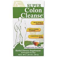 """Health Plus Inc., """"Супер-чистка кишечника"""", чай с перечной мятой для чистки толстого кишечника, 20 упакованных чайных пакетиков по 1,05 унции (30 г)"""