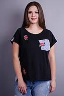 Хельга. Женская футболка больших размеров. Черный.