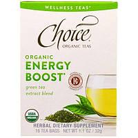 """Choice Organic Teas, """"Энергетик"""", органический бодрящий чай от Wellness Teas, 16 чайных пакетиков по 0,7 унции (2 г)"""