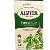 SALE, Alvita Teas, Мята органическая, 24 чайных пакетика, 1,27 унции (36 г)