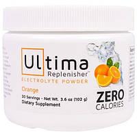 """Ultima Health Products, """"Предельный восполнитель"""", порошок электролитов с апельсиновым вкусом, 3,6 унции (102 г)"""