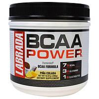 """Labrada Nutrition, """"Сила BCAA"""", аминокислоты с разветвленными боковыми цепями (BCAA), со вкусом пина колады, 13,97 унций (396 г)"""