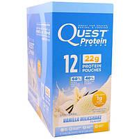 Quest Nutrition, Протеиновый Порошок, Вкус Ванильного Молочного Коктейля, 12 Мешочков,0,99 унции (28 g) каждый