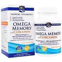 """Nordic Naturals, """"Омега-память"""", пищевая добавка с омега-3 и куркумином, 975 мг, 60 мягких желатиновых капсул с жидкостью"""
