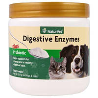 NaturVet, Пищеварительные ферменты плюс пробиотик, для собак и кошек, порошок, 8 унций (227 г)