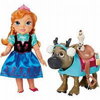 Disney Холодное сердце Кукла Анна Олаф и Свен Frozen Toddler Anna Doll & Sven with Mini Olaf