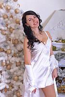 Легкий шелковый пеньюар с халатиком белого цвета