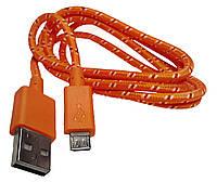 Дaтa кaбeль (USB+micro USB) ярко-орaнжeвый, фото 1