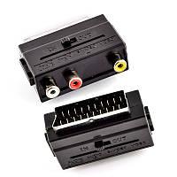 Переходник Scart plug to 3 RCA jack W/ switch (GT1-5013)