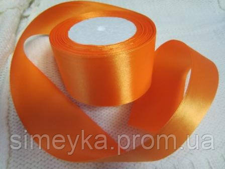 Лента атлас 5 см Апельсиновая (оранжевый с желтинкой)