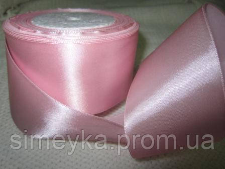 Кусок 1,10 м!!! Лента атлас 5 см Нежно-розовая 1,10 м. Ост. 1 шт.