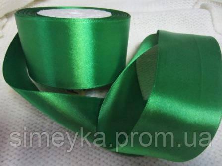 Лента атлас 5 см Зеленая