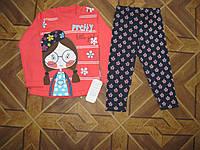 Детский костюм  из батника и лосинок для девочки 1-3 года Турция