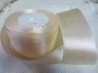 Лента атлас 5 см Кремовая