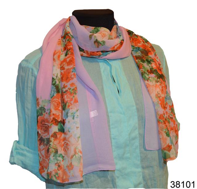 Женский сиреневый с розовым модный шифоновый шарф Кармен 1