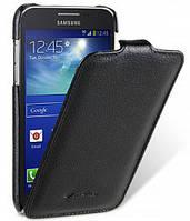 Откидной чехол для Samsung Galaxy Core i8262 черный кожаный флип от Мелко
