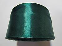 Лента атлас 5 см Темно-зелёная (изумрудная)
